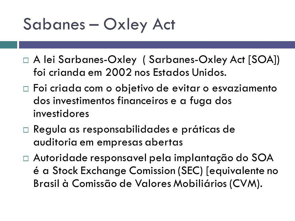 Sabanes – Oxley Act A lei Sarbanes-Oxley ( Sarbanes-Oxley Act [SOA]) foi crianda em 2002 nos Estados Unidos.